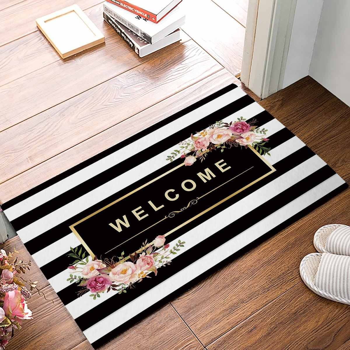 Black And White Stripe Floral Welcome Door Mats Kitchen Floor Bath Entryway Rug Mat Absorbent Indoor Bathroom 32 x 20 Inch