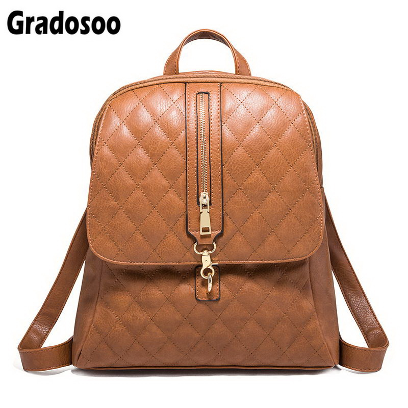 Gradosoo Luxury Quilted Backpack Female Fashion School Shoulder Bag For  Girls High Quality PU Leather Backpacks Women LBF71 6c5d042aca5f6