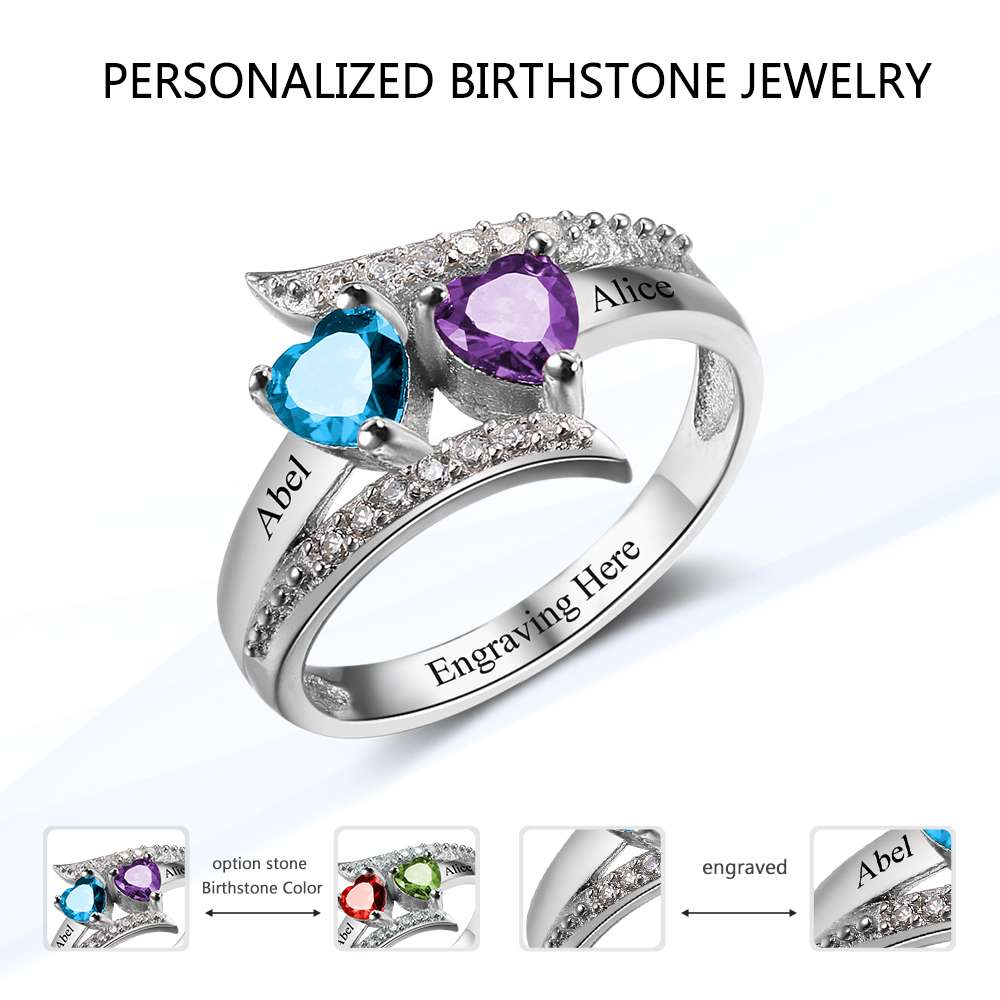 with birthstones mothers sterling silver s ring mother rings custom birthstone heart stone