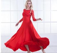 Ballroom Dance Dresses New High Quality Flamenco Dancing Skirt 6 Color Women Cheap Stage Waltz Ballroom Dress rhinestone