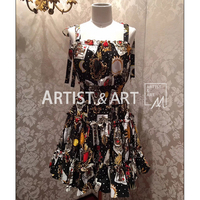 Svoryxiu 2018 Runway Custom Made Summer Spaghetti Strap Dress Women's Elasticity Waist Playing Cards Print Cotton Short Dress