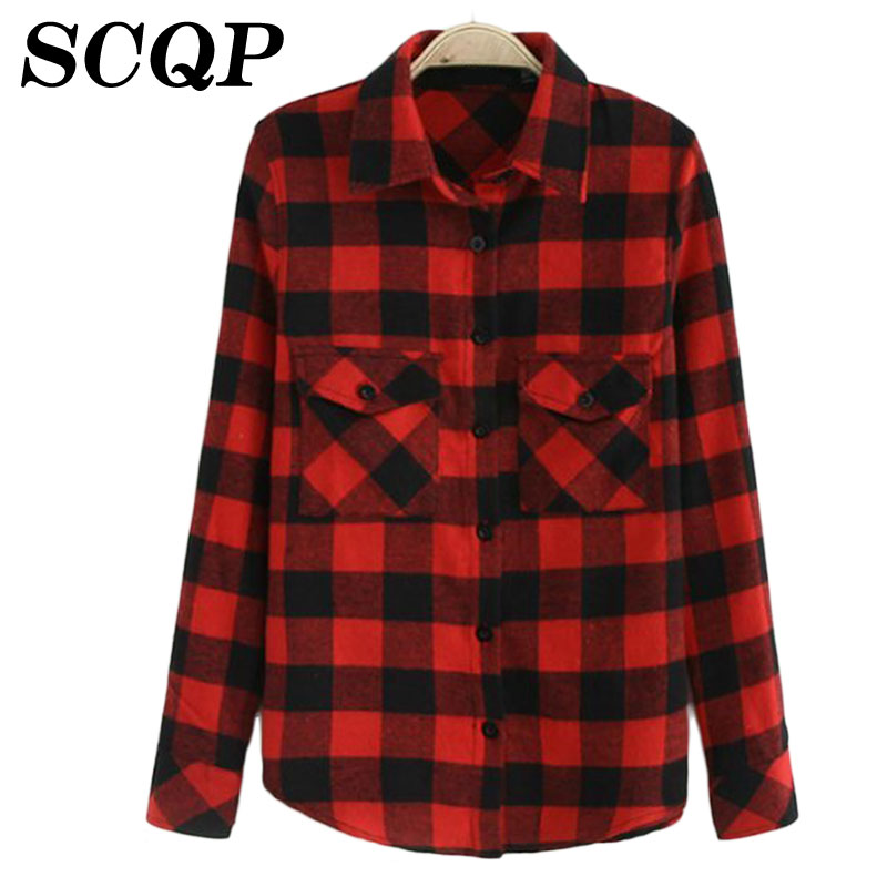 Checks Flannel Shirts Women Long Sleeve 2015 Autumn Style Plaid Pockets Lapel Womens Blouses Spring Casual Ladies Office Tops(China (Mainland))