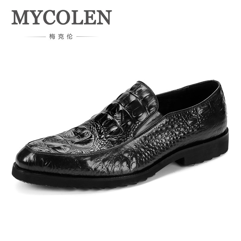 MYCOLEN Handmade Men Dress Shoes High Quality Genuine Leather Crocodile Skin Shoes Men Oxford Leather Men Flats Shoes zxq brand handmade new winter men oxford shoes solid color high quality retro british style men flats leather shoes