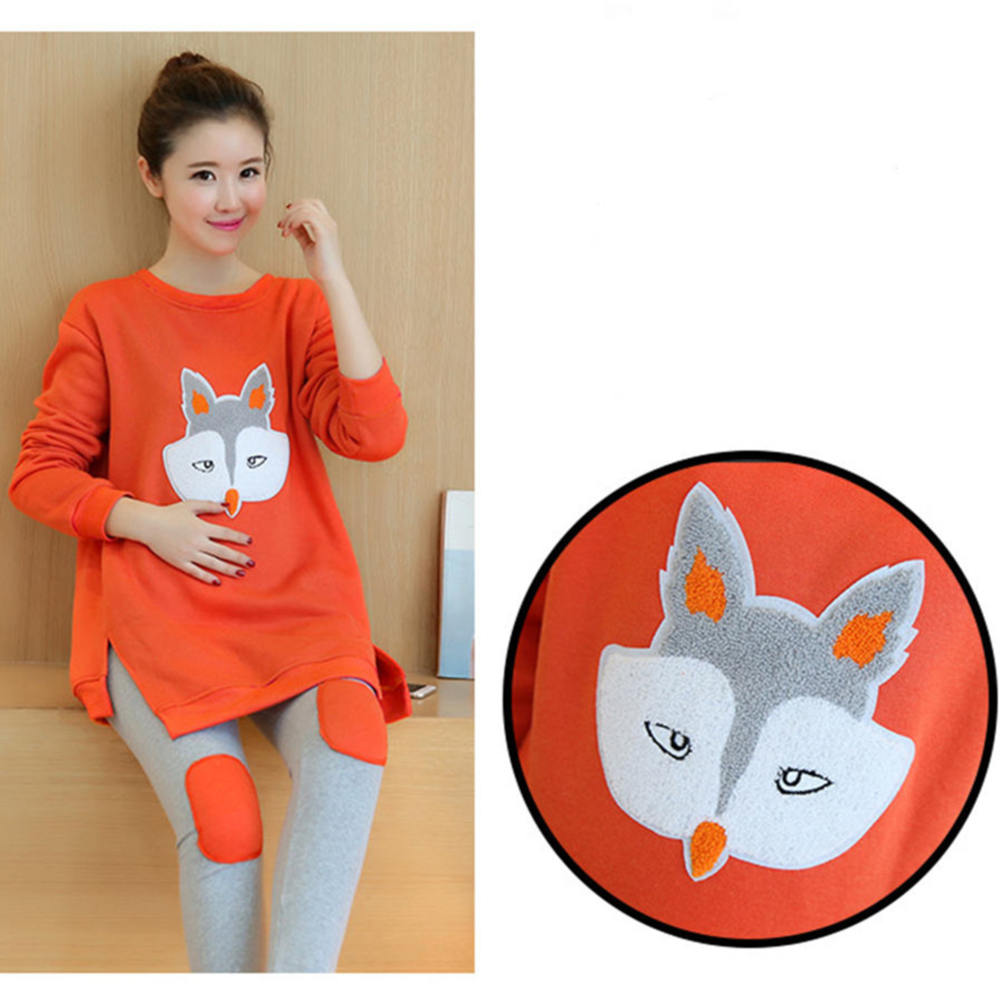 Maternity Suits Pregnant Fox Shirt with Leggings/Pants Long Sleeve Set for Women Maternity Clothing spring summer print maternity clothing suit t shirt long sleeve top sports casual fashion legging pants pregnant sets clothing