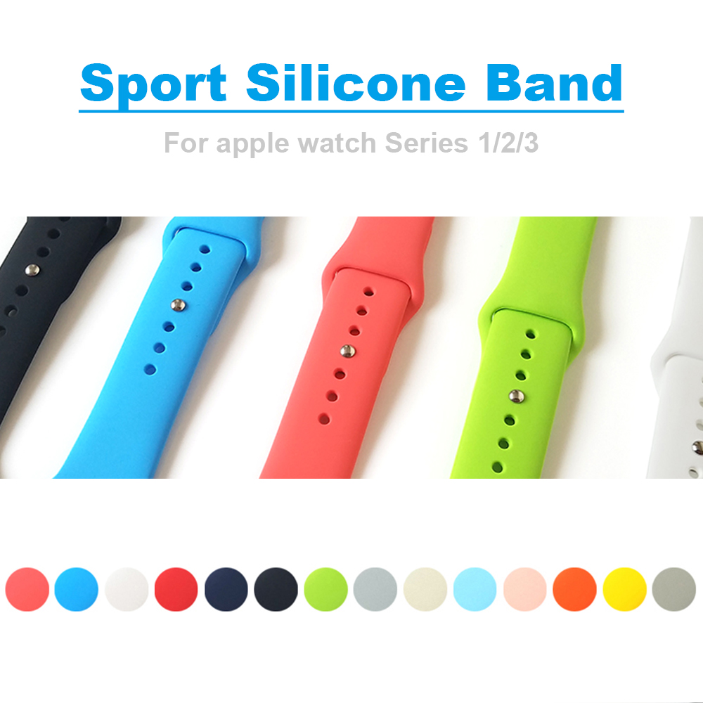 Band for apple watch 42mm 38mm Sport Silicone Watchband Replaceable Bracelet Strap for iWatch Series 1 / 2 / 3 Watchstrap luxury ladies watch strap for apple watch series 1 2 3 wrist band hand made by crystal bracelet for apple watch series iwatch