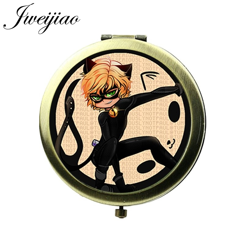 JWEIJIAO Boys Ladybugs Cute Cartoon Photo Printed Glass Cabochon Pocket Mirror Bronze Metal Round Floding Vintage Makeup Mirrors