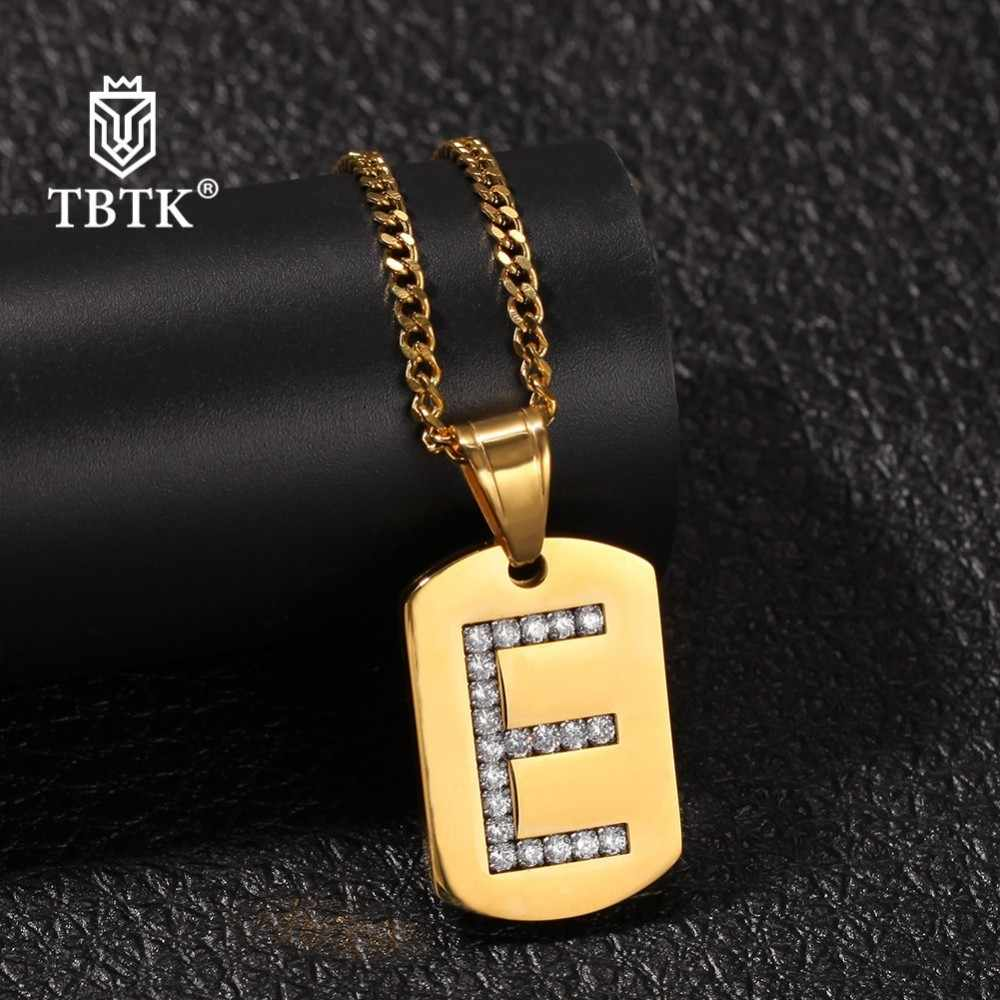 TBTK Gold Irregular Quadrilateral Military Tag Iced Out Letter Pendant Stainless Steel Necklace Unisex Fashion Trendy Jewelry