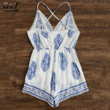 Dotfashion 2017 Summer White And Blue Boho Playsuit Leaf Print Criss Cross Back Pom Pom Romper V neck Strap Sleeveless Playsuit
