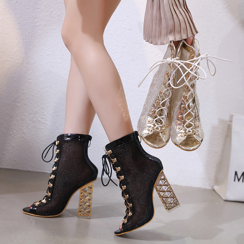 new release provide plenty of new products US $27.61 44% OFF|Fashion Gladiator Summer Boots Open toe Ankle Boots for  women Transparent Crystal Heels Shoes Women Sandale Femme Ladies Pumps-in  ...