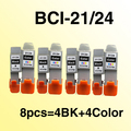 8pcs for canon BCI21 BCI 24 INK cartridge compatible for BCI-21 BCI-24 PIXMA IP1000/IP1500/IP2000 freeshipping