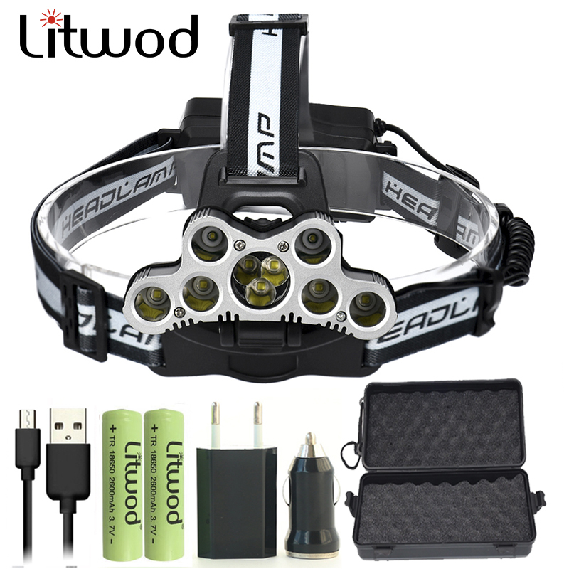 все цены на Litwod Z302309 USB 9 CREE LED Led Headlamp Headlight head flashlight torch cree XM-L T6 head lamp rechargeable for 18650 battery онлайн