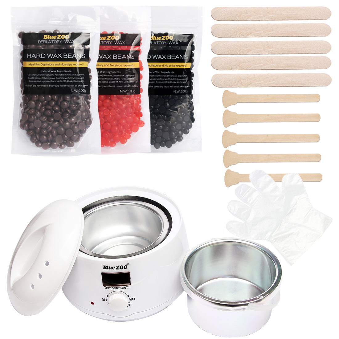 Beauty Salon Depilatory Wax Heater Kit Body Hair Removal Set Wax Heater Machine+ 3 Bag Wax Beans + 10 Wood Spatulas + 10 Gloves