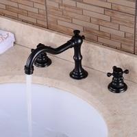 Antique Kitchen Faucets Brass Polished Black Bathroom Faucet Swivel Double Handles Sink Taps Hot Cold Basin