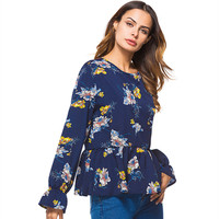 Spring Summer Women T Shirt Round Neck Butterfly Long Sleeve Floral Print T Shirt Loose Flounced