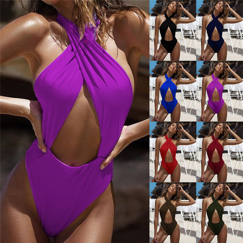 Multicolor strapless backless cross-neck <font><b>sexy</b></font> <font><b>one</b></font>-<font><b>piece</b></font> swimsuit <font><b>2018</b></font> <font><b>Sexy</b></font> <font><b>Women</b></font> <font><b>Swimwear</b></font> <font><b>Sexy</b></font> <font><b>High</b></font> <font><b>Cut</b></font> <font><b>One</b></font> <font><b>Piece</b></font> Swimsuit Suit image