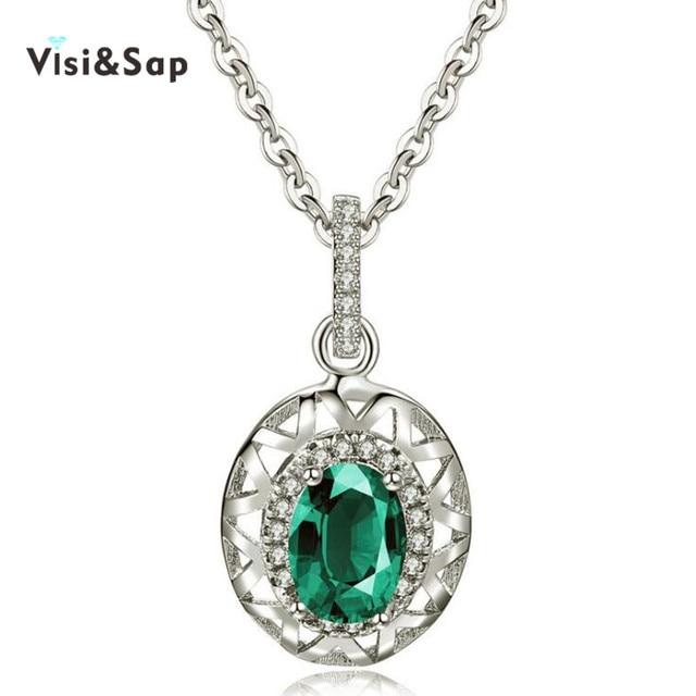 67114f2ebb29 Visisap collar de piedra verde para las mujeres boda cadena de color oro  blanco AAA cubic