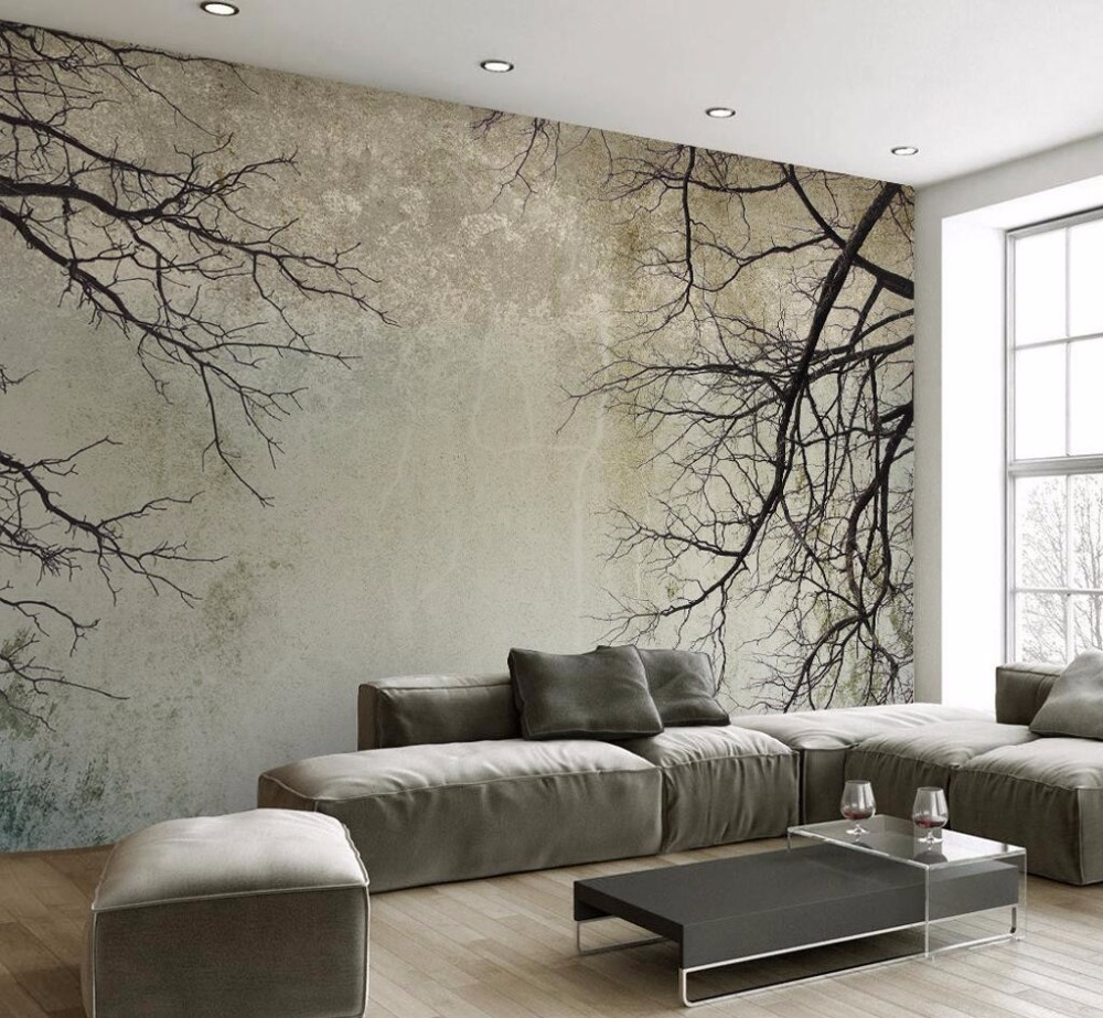 Beibehang Custom Wallpaper Retro Simple Nordic Style Tree Branch Sky TV Background Wall Living Room Bedroom Mural 3d Wallpaper
