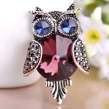 Red Rhinestone Owl Brooches For Women Blue Black Gun Plated Animal Brooches Pins Parrot Accessories Dress Shoulder Jewelry