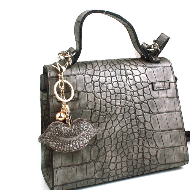 Cute Rhinestone Lip Bag Charm and Keychain