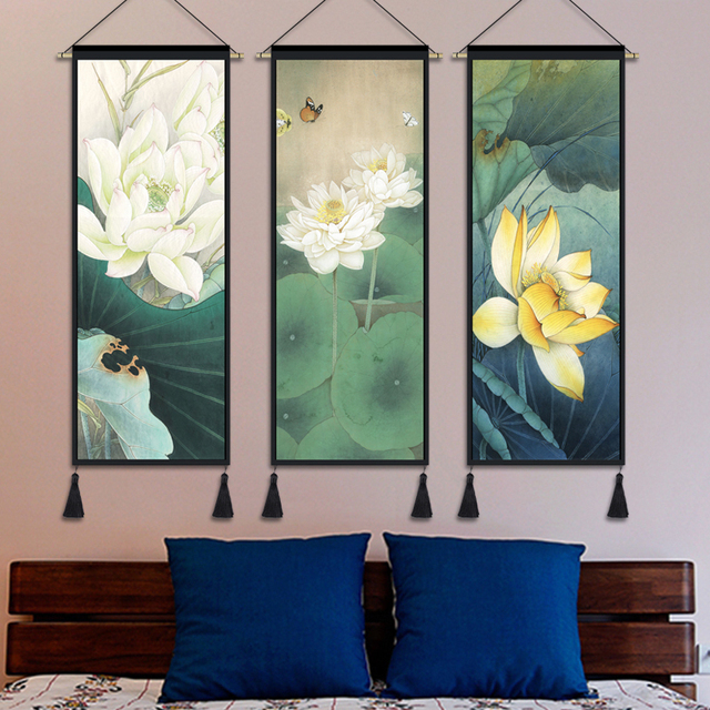 US $27.04 20% OFF|Chinese tapestry lucky lotus Chinese style tapestry  decorative painting Bedroom paintings living room meter box fresco-in  Tapestry ...