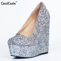 Women Platform Wedge Shoes Woman Fashion Shallow Mouth Heels Pumps Ladies Sexy Glitter Party Wedding Heeled Shoes Size 34 47