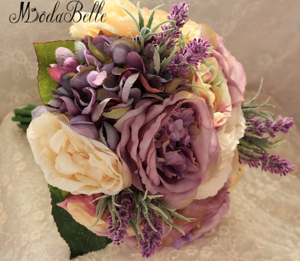 Gorgeous 2016 Hand Made Yellow Lavender Purple Bridal Bouquet Bride