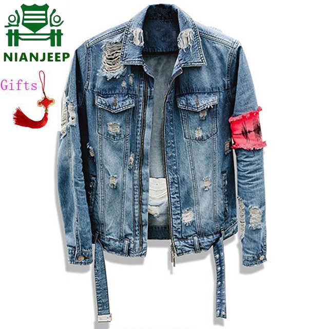 ae07f0e1e8 Cinta de rasgado vaqueros Chaquetas patchwork Apenada washed Denim Hombre  Slim Fit Streetwear HipHop Vendimia Jacket2XL