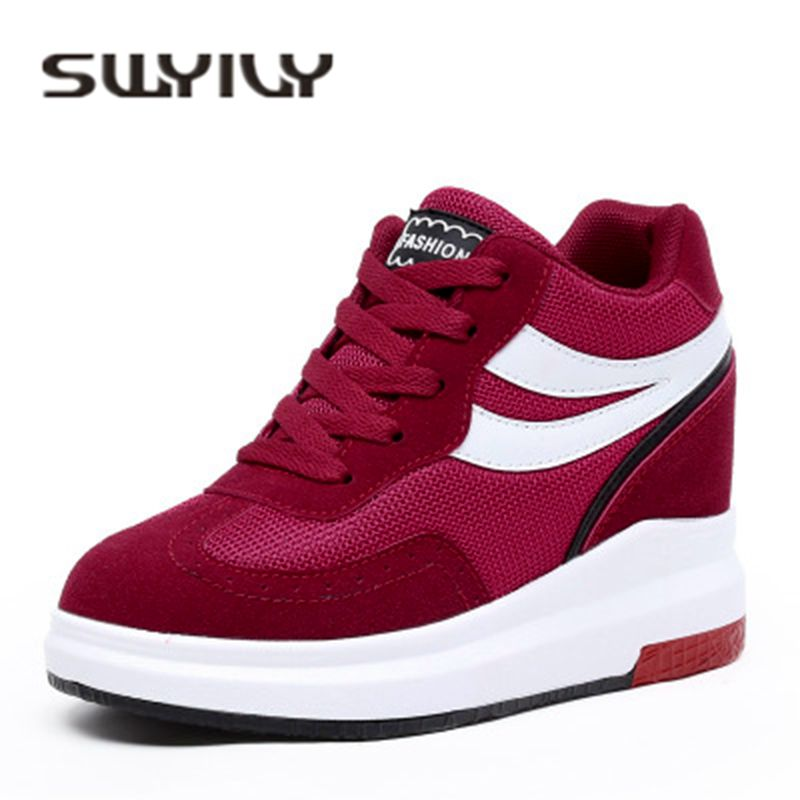 SWYIVY Women Sport Shoes Genuine Leather Platform Slope Walking Shoes  Height Increasing Lady High-top 9670330e8e03