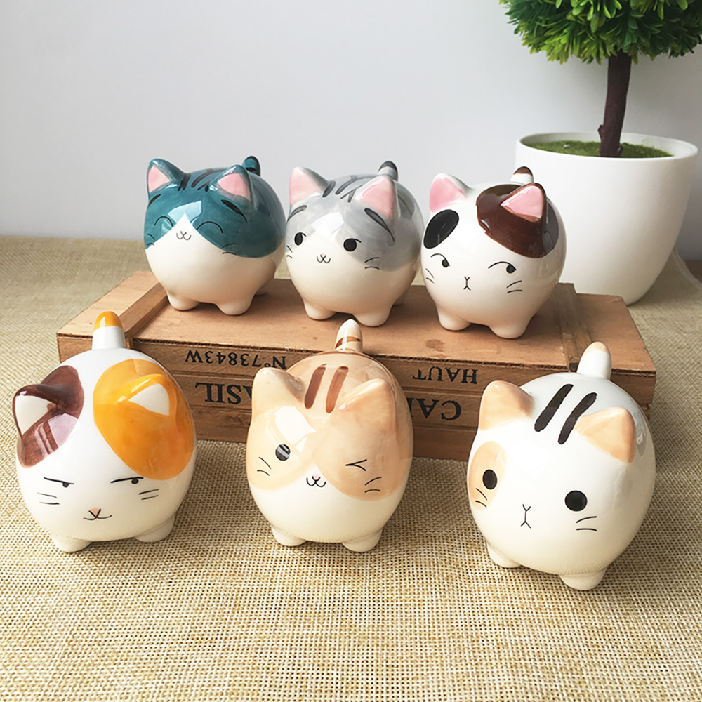 Car Ornament Cute Ceramic Cat Doll Figure Home Furnishing Lovely Decoration Auto