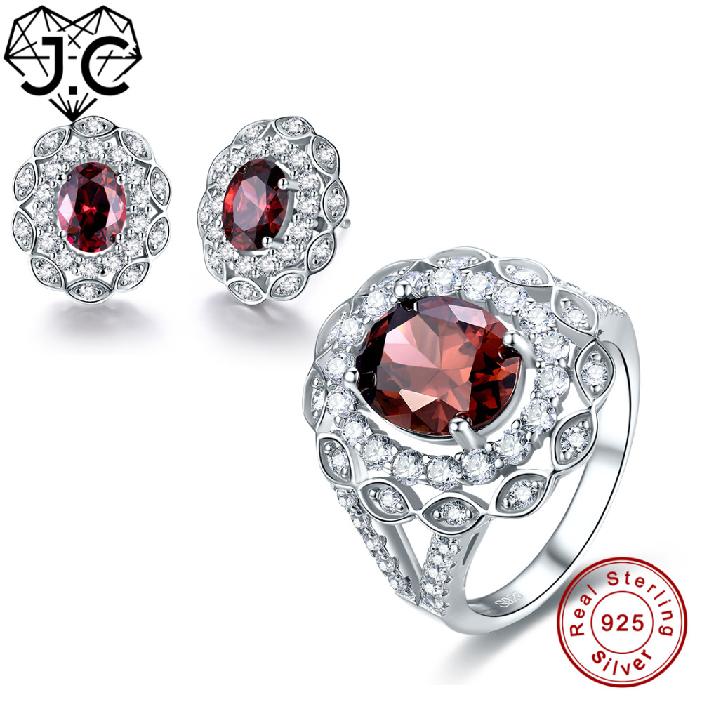 J.C Lady Luxurious Spessartine Garnet Topaz Genuine 925 Standard Sterling Silver Ring & Earring High Quality Fine Jewelry SetJ.C Lady Luxurious Spessartine Garnet Topaz Genuine 925 Standard Sterling Silver Ring & Earring High Quality Fine Jewelry Set