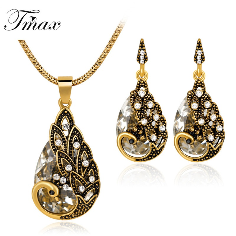 TengMaxi Exquisite Fashion Animal Peacock Necklace Earrings Jewelry Set for Women Rhinestone Drop Earrings Statement Necklace