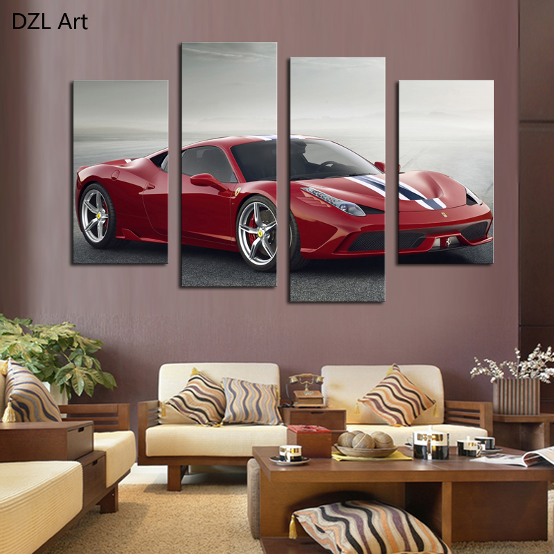 4 PcsNo Frame Red Sports Car Wall Art Picture Home