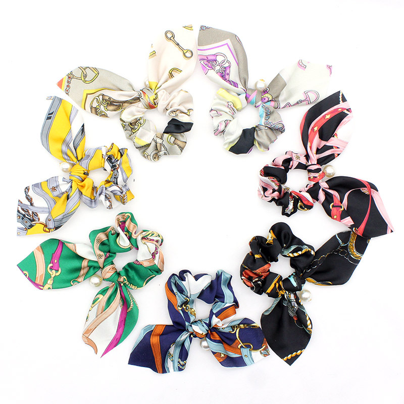 Chiffon Floral Printed Bowknot Silk Hair Scrunchies Women Pearls Ponytail Holder Hair Tie Hair Rope Hair Accessories for Girls in Women 39 s Hair Accessories from Apparel Accessories