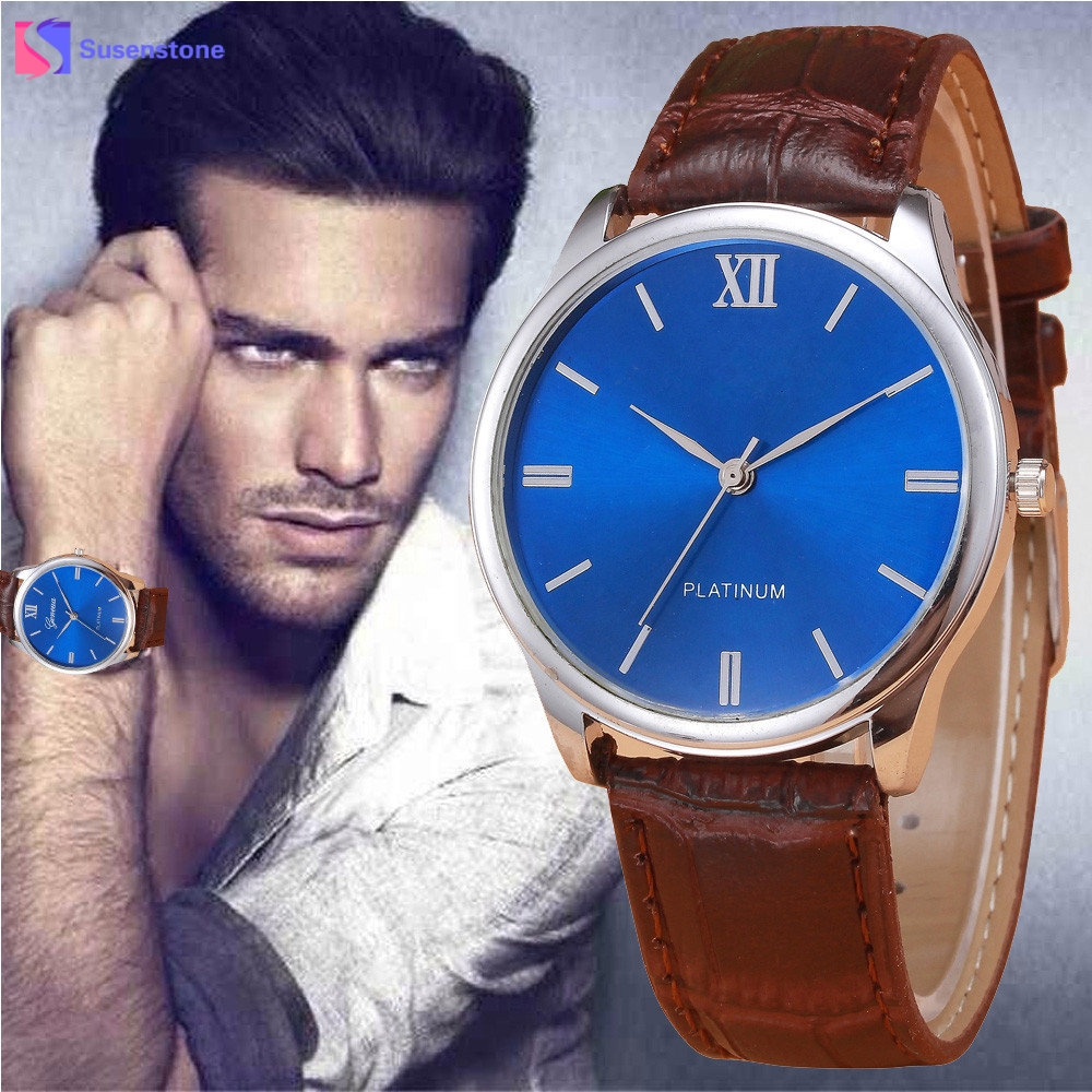 Luxury Mens Watch Retro Design Leather Band Analog Alloy Quartz Wrist Watch Men Male Clock Relogio Masculino montre homme 2018 mens stainless steel band watch with big round dial male analog quartz metal sports wristwatch relogio masculino montre homme