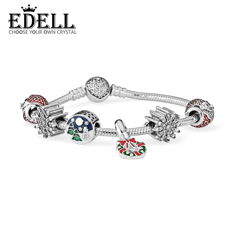 EDELL 2017 NEWEST 100% 925 Sterling Silver Hand catenary suit Clear CZ Charm Bead ESSENCE Bracelets DIY For Women Jewelry a suit of cute rhinestone elephants alloy bracelets for women