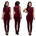 2017 Summer Fitness Bodycon One Piece Rhinestone Sleeveless Women Jumpsuit Red Sexy Club Female Playsuit Rompers Overall Macacao