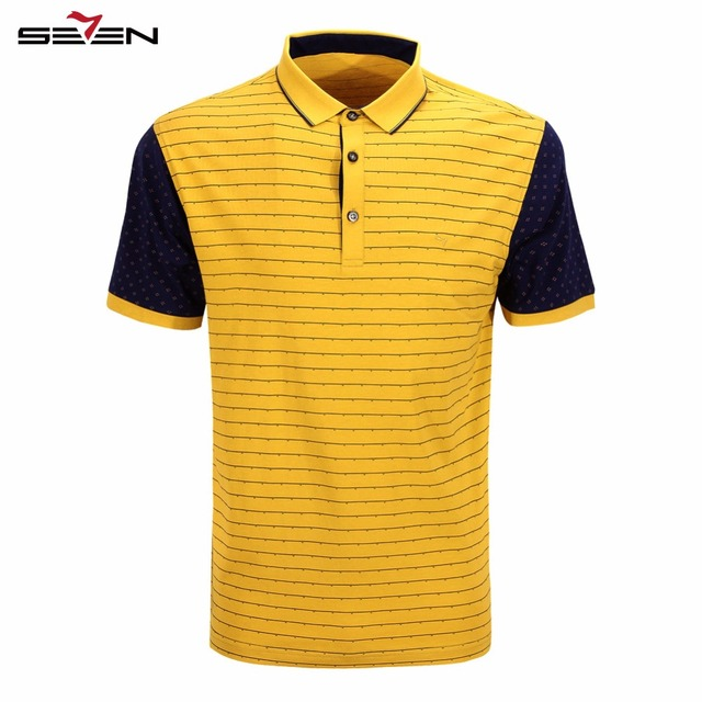 Seven7 Brand Summer Polo Shirts Short Sleeve Men Polo Shirts Striped Business Slim Fit Cotton Performance Deck Polos 108T50040