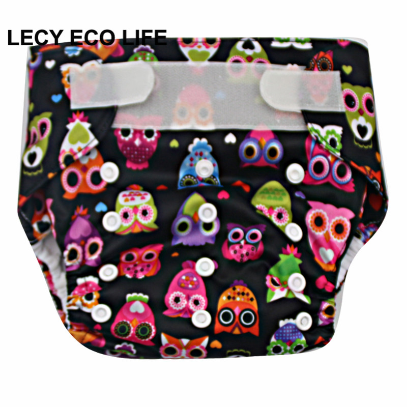 LECY ECO LIFE hook and loop baby reusable cloth diaper with 2 bamboo Urine pad, 10 printed color all in one size washable diaper