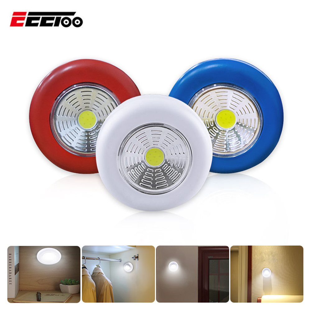 COB Touch Light Round LED Under Cabinet Light Wall Lamp Wardrobe Cupboard Closet Light Emergency Kitchen Night Light For Home Under-cabinet lighting