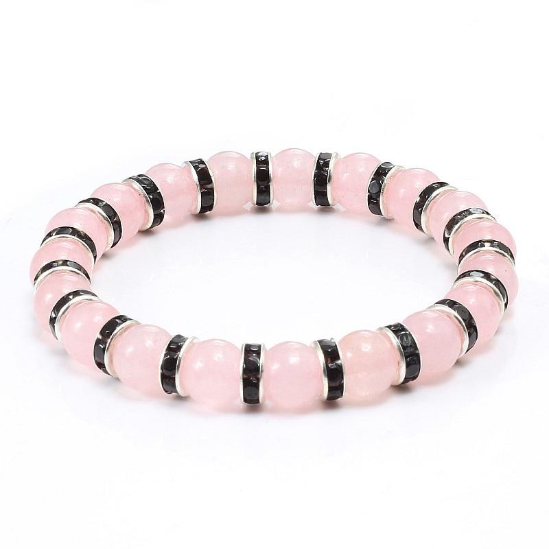 Natural Stone Pink Crystal Quartz Bracelets & Bangles For Women Men Casual Jewelry Charm Powder Beads Strand Bracelet Love Gifts