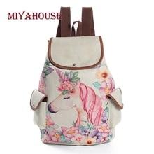 Miyahouse unicórnio impresso saco de viagem mochila lona feminina alta qualidade cordão material linho mochila