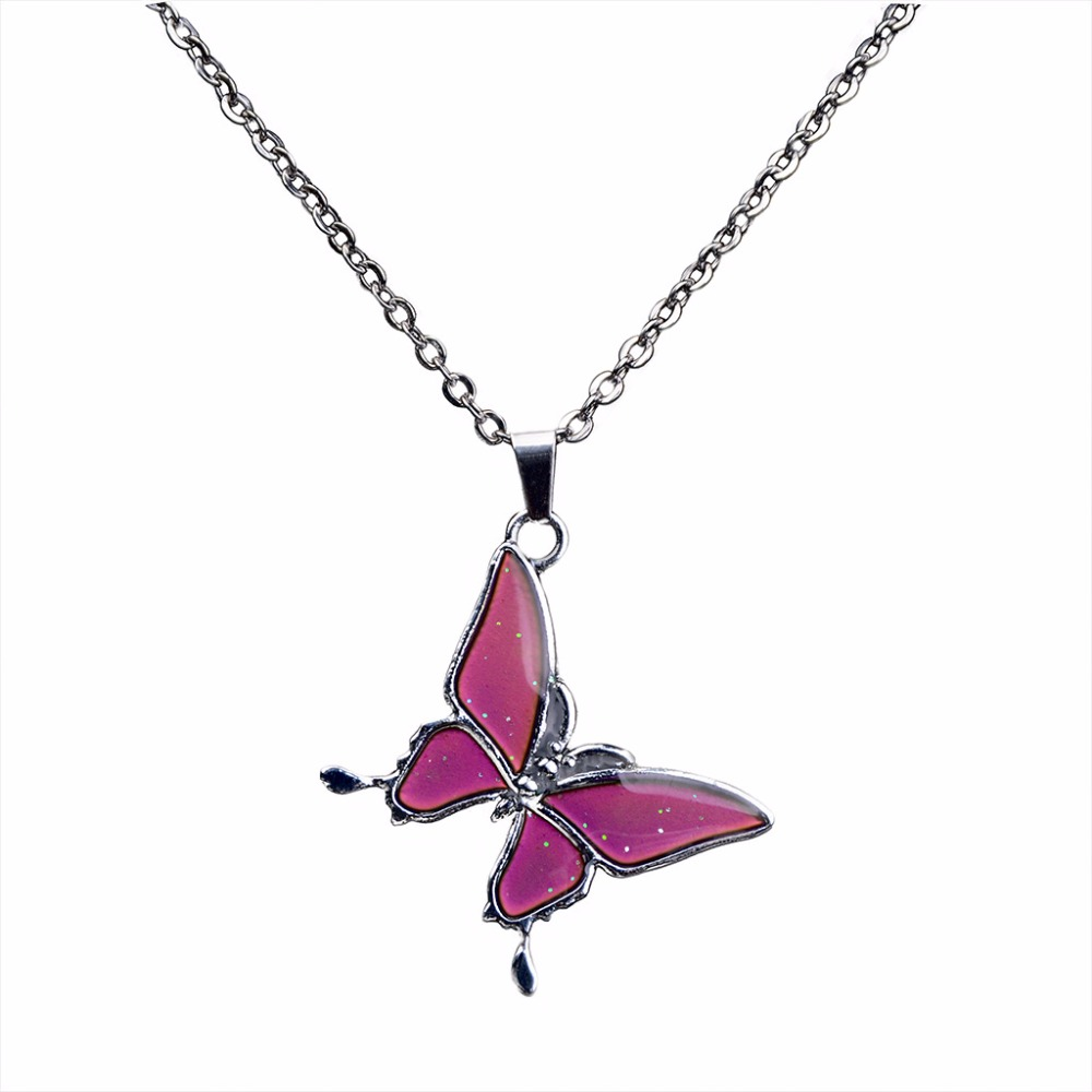 JUCHAO Chain Necklaces Temperature-Control Butterfly Pendant Color-Change Stainless-Steel