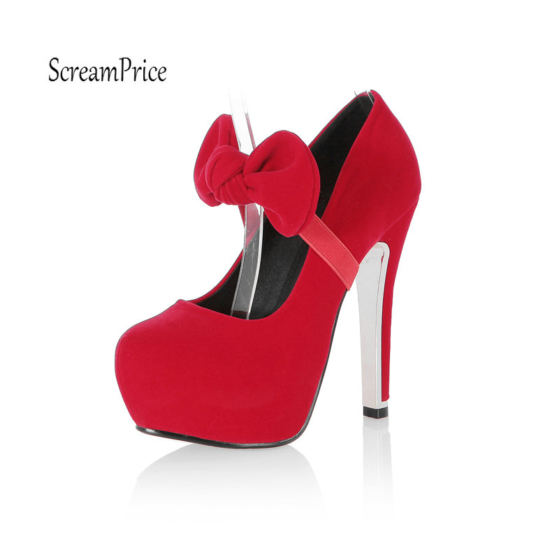 Fashion Mary Jane Round Toe Women Pumps Small Bow Platform Pumps Ladies Sexy Party High Heel Shoes Blue Red цены онлайн
