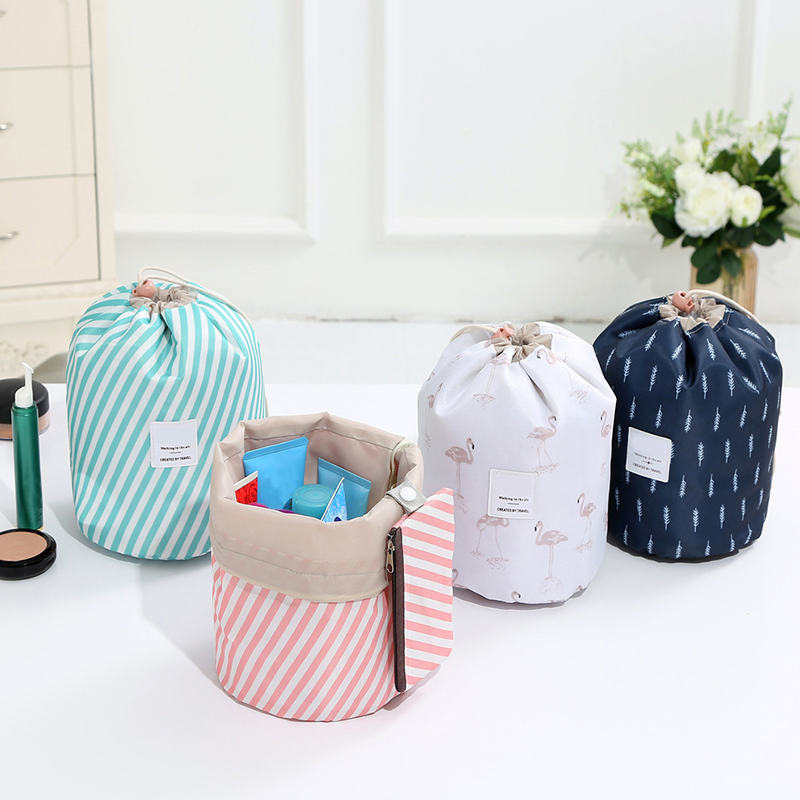 BUCHNIK Cactus Barrel Shaped Drawstring Cosmetic Bag Beauty Wash Kit Pouch Makeup Toiletry Organizer Travel Accessories Supplies