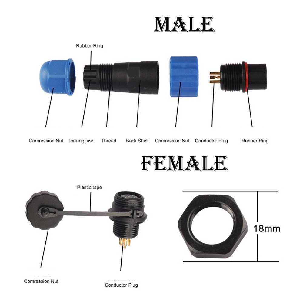 IP68 كابلات الموصلات SP13 للماء موصلات التوصيل المقبس الذكور الإناث 1 2 3 4 5 6 7 دبوس SD13 13 مللي متر مستقيم الظهر الجوز