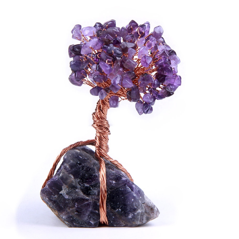 Natural Amethyst Quartz Crystal Rocks Stone Chips Beads Tree of Life with Copper Wrapped Home Decoration Figurine 1pc