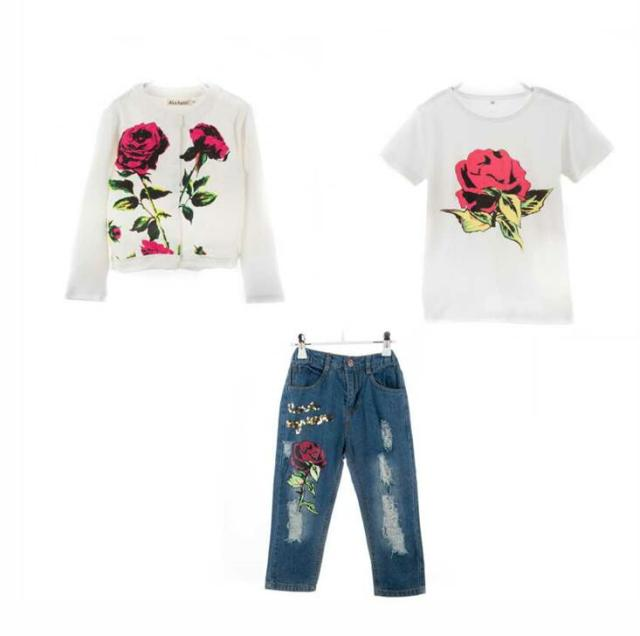2016 Spring/Autumn New Brand Fashion Rose Girls Clothes 3pcs 2-9Y Kids Clothes Girls long sleeves flower Children Clothing set