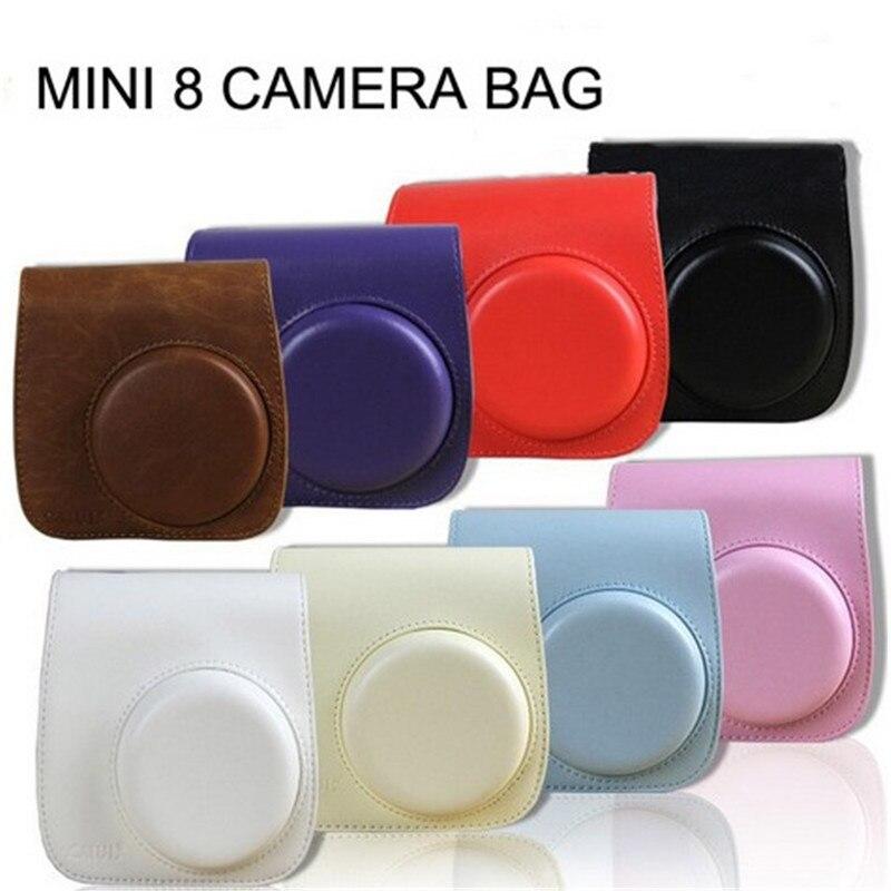 Classic 8 Colors Leather Camera Strap Bag Case Cover Pouch Protector For Polaroid Photo Camera For Fuji Fujifilm Instax Mini 8