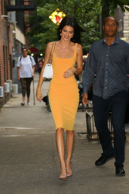 KGFIGU Kendall jenner Yellow bodycon dress 2019 Summer sleeveless skinny ropa mujer knee length vestidos High quality 3