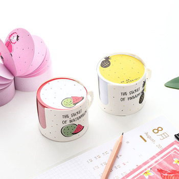 1pc Little Fairy Cup Shape Repeated Post Creative Message Post-it Note Pad Student Stationery Stickers 2pcs creative students stationery post it note with writing pad clip cartoon cute n times posted message notes